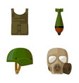 bullet-proof vest mine helmet gas mask vector image vector image