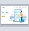 bus ticket website landing page design vector image