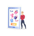 businessman character selling clothes via internet vector image