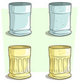 cartoon blue and yellow empty glass set vector image