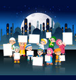 children are holding their blank banner vector image vector image