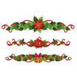 christmas holiday border set - red holly berries vector image vector image