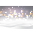christmas snowy landscape with bokeh lights vector image vector image