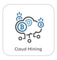 cloud mining icon vector image vector image