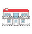 color sections silhouette facade house of two vector image vector image
