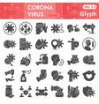 coronavirus solid icon set covid-19 symbols
