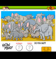 counting elephants and rhinos game for kids vector image vector image