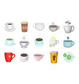 cup icon set cartoon style vector image vector image