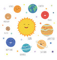 cute planets with funny smiling faces solar vector image