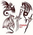 dragon set for tattoo design vector image