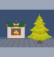 flat decorated christmas tree and fireplace vector image
