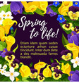 flower greeting card with spring floral wreath vector image vector image