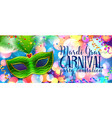 green carnival mask on colorful bokeh background vector image vector image