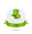 Greeting card with hat and ribbon for St Patricks vector image