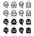 halloween scary ghost black icons set vector image vector image