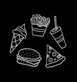 hand drawn fast food collection vector image vector image