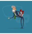 Happy businessman or manager greeted with a gift vector image vector image