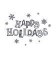 happy holidays zentangle vector image