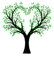 heart shaped tree with leaves vector image