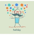 holiday at the person with colorful fireworks vector image vector image