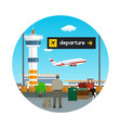 icon of waiting room with people at the airport vector image vector image