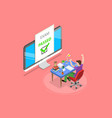 isometric flat concept passed online vector image vector image
