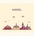 kassel skyline northern hesse germany line vector image