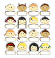 kids with clear nameplates set vector image vector image