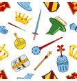kingdom pattern - castle spear shield knights vector image vector image