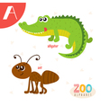 Letter A Cute animals Funny cartoon animals in vector image vector image