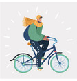 man riding in bike on winter landscape vector image