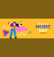 music day banner funny musical man playing violin vector image