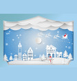 paper art style winter holiday for christmas vector image vector image