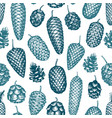 pine cones hand drawn seamless pattern botanical vector image vector image