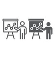 presentation line and glyph icon education vector image