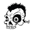 punk skull black and white vector image vector image