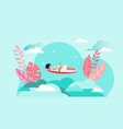 relax girl vacation sunbathes beach hot summer vector image