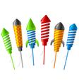 rocket fireworks vector image vector image