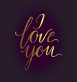 romantic lettering i love you hand written vector image vector image