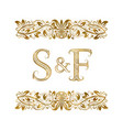 s and f vintage initials logo symbol letters