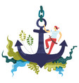 sailor seaman with saber standing on the anchor vector image vector image