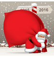 Santa Claus carrying a big red sack full of gifts vector image