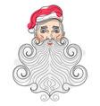 santa claus portrait long beard vector image