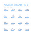 set color line icons water transport vector image