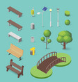 set of isometric park objects bench trash box vector image