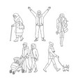 set of walking people in vector image