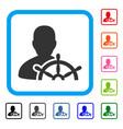 ship captain framed icon vector image vector image