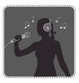 silhouette avatar girl singer vector image