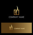square abstract loop gold logo vector image vector image