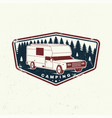 summer camp camping trailer emblem or vector image vector image